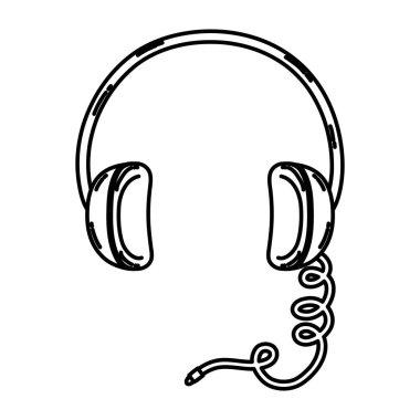 line headphone modern music audio technology vector illustration