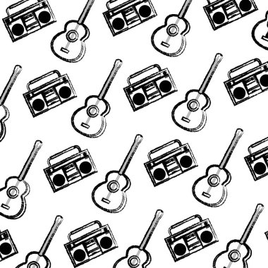 grunge play guitar and retro radio background vector illustration