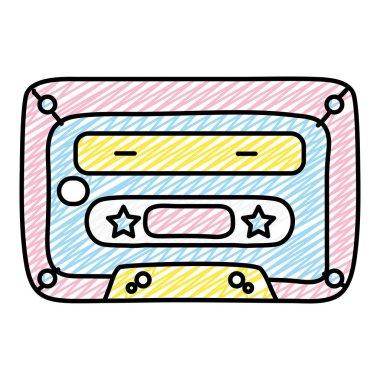 doodle olde cassette stereo tape audio vector illustration