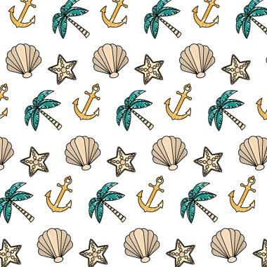 doodle exotic marine plants and anchor background vector illustration