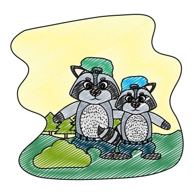 doodle raccon animal with his son with hat and pant vector illustration