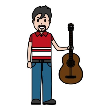 color happy musician with guitar instrument in the hand vector illustration