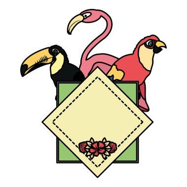 """Картина, постер, плакат, фотообои """"тропическая эмблема пеликана с векторной иллюстрацией попугаев и фламандских птиц """", артикул 242409918"""
