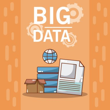 Big data box with disks and sheets vector illustration graphic design