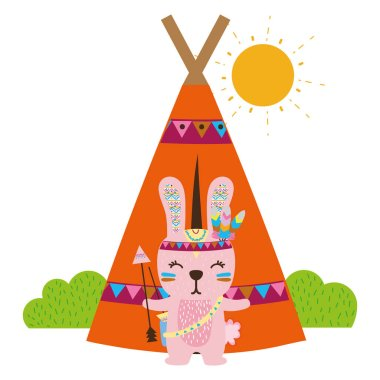 colorful rabbit animal with arrows and camp design vector illustration