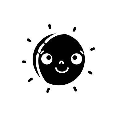 silhouette happy sun natural weather kawaii vector illustration