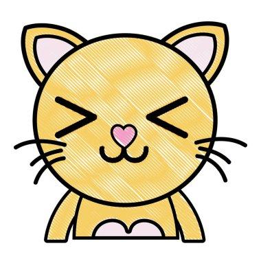 grated happy cat adorable feline animal vector illustration