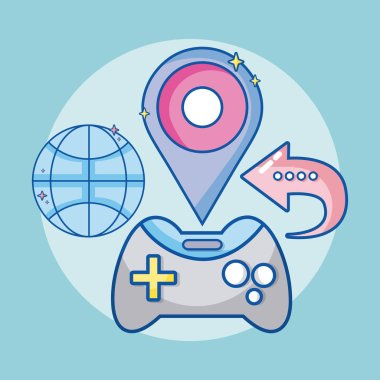 Online videogames cartoons symbols vector illustration graphic design