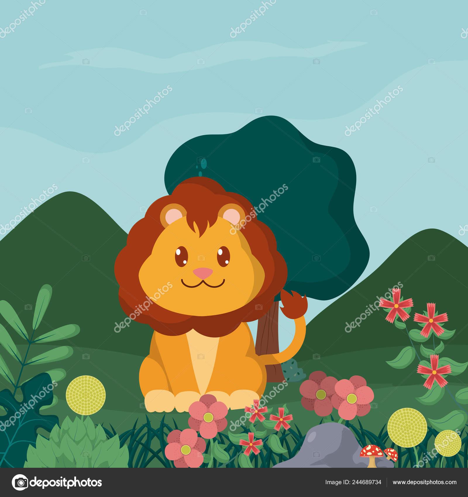 森のかわいい動物漫画でライオン ベクトル イラスト グラフィック