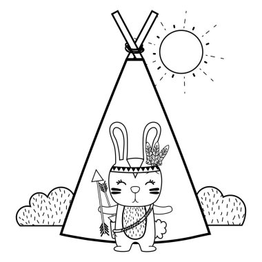 line rabbit animal with arrows and camp design vector illustration