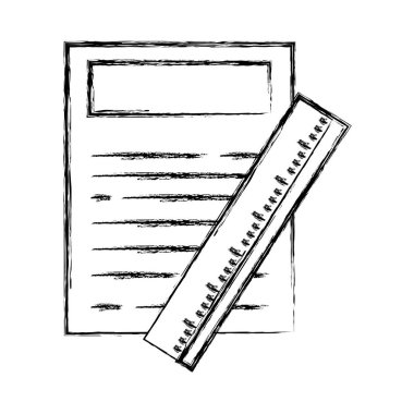 figure paper document with ruler object design vector illustration