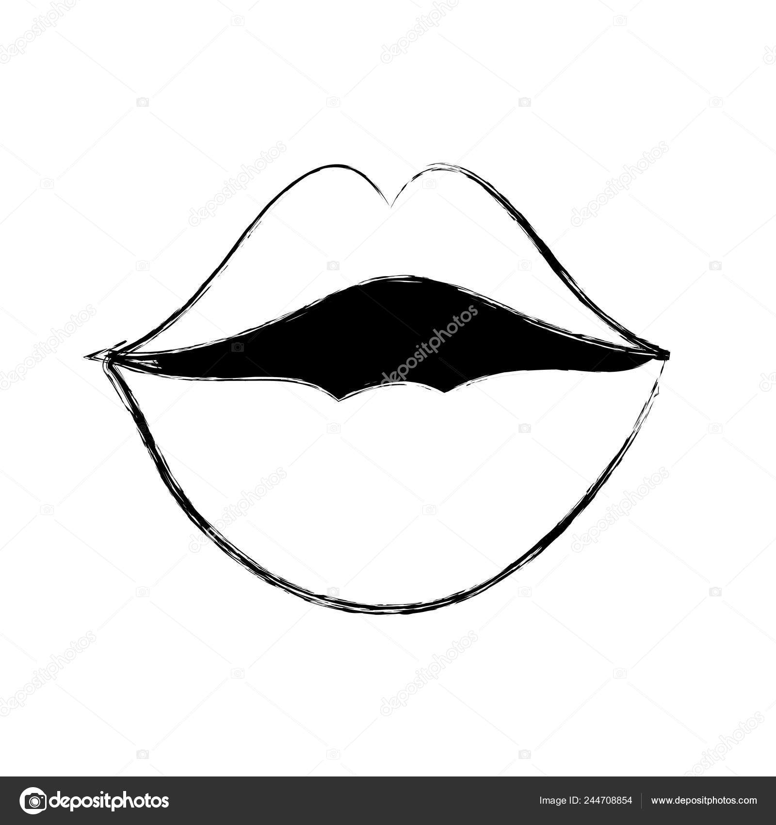 Mouth Cartoon Kiss Caricature Expression Theme Isolated