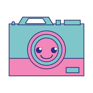 full color happy camera technology kawaii cartoon vector illustration