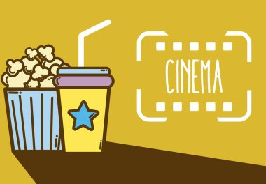 Cinema cute cartoons elements design over colorful background vector illustration graphic design