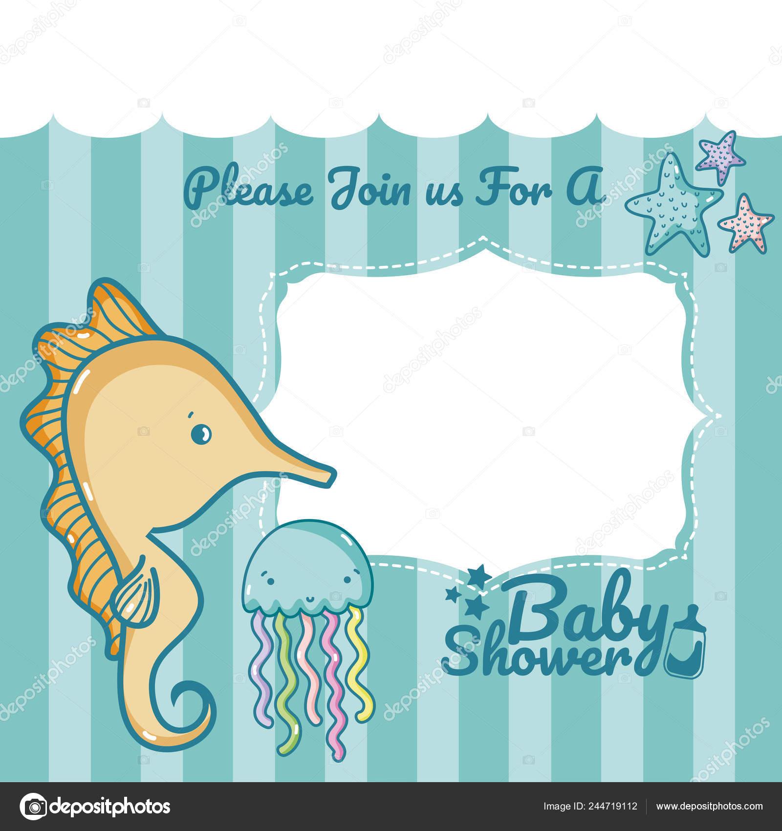 Baby Shower Invitation Card Boys Vector Illustration Graphic