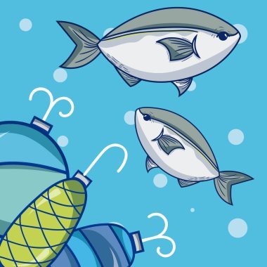 Fishes and hooks over blue background vector illustration graphic design