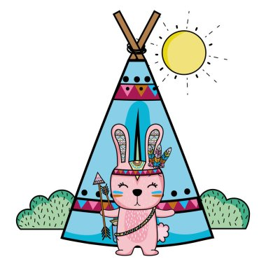 rabbit animal with arrows and camp design vector illustration