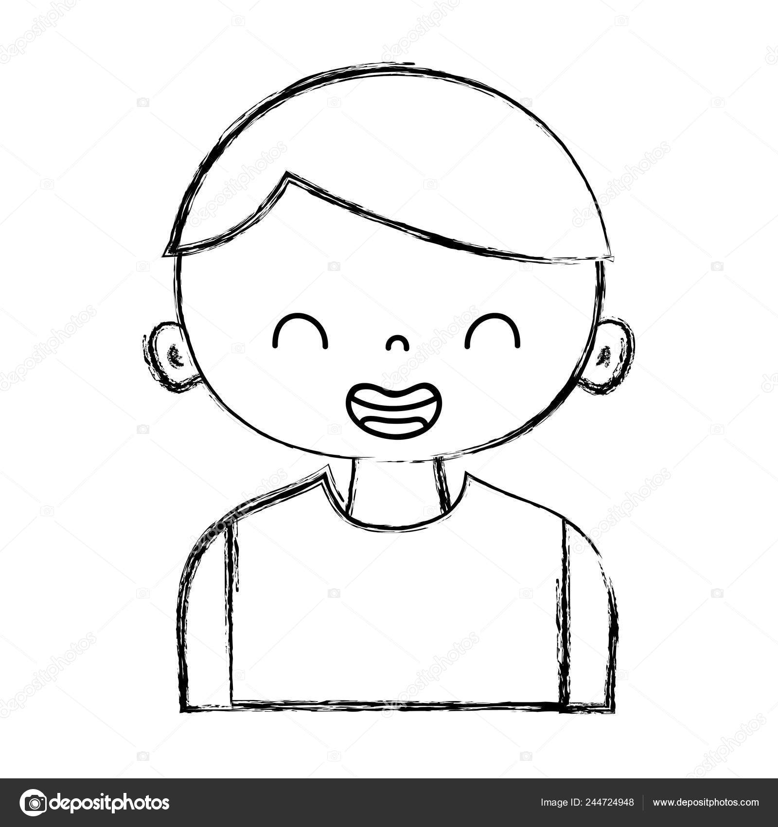 Figure Smile Boy Shirt Hairstyle Vector Illustration Stock Vector