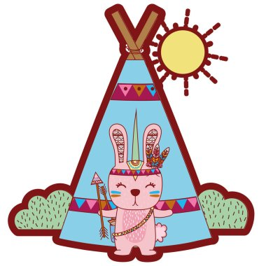line color rabbit animal with arrows and camp design vector illustration