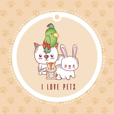 i love pets card with pets cartoon vector illustration graphic design