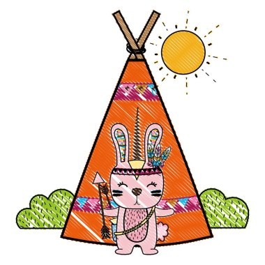 grated rabbit animal with arrows and camp design vector illustration