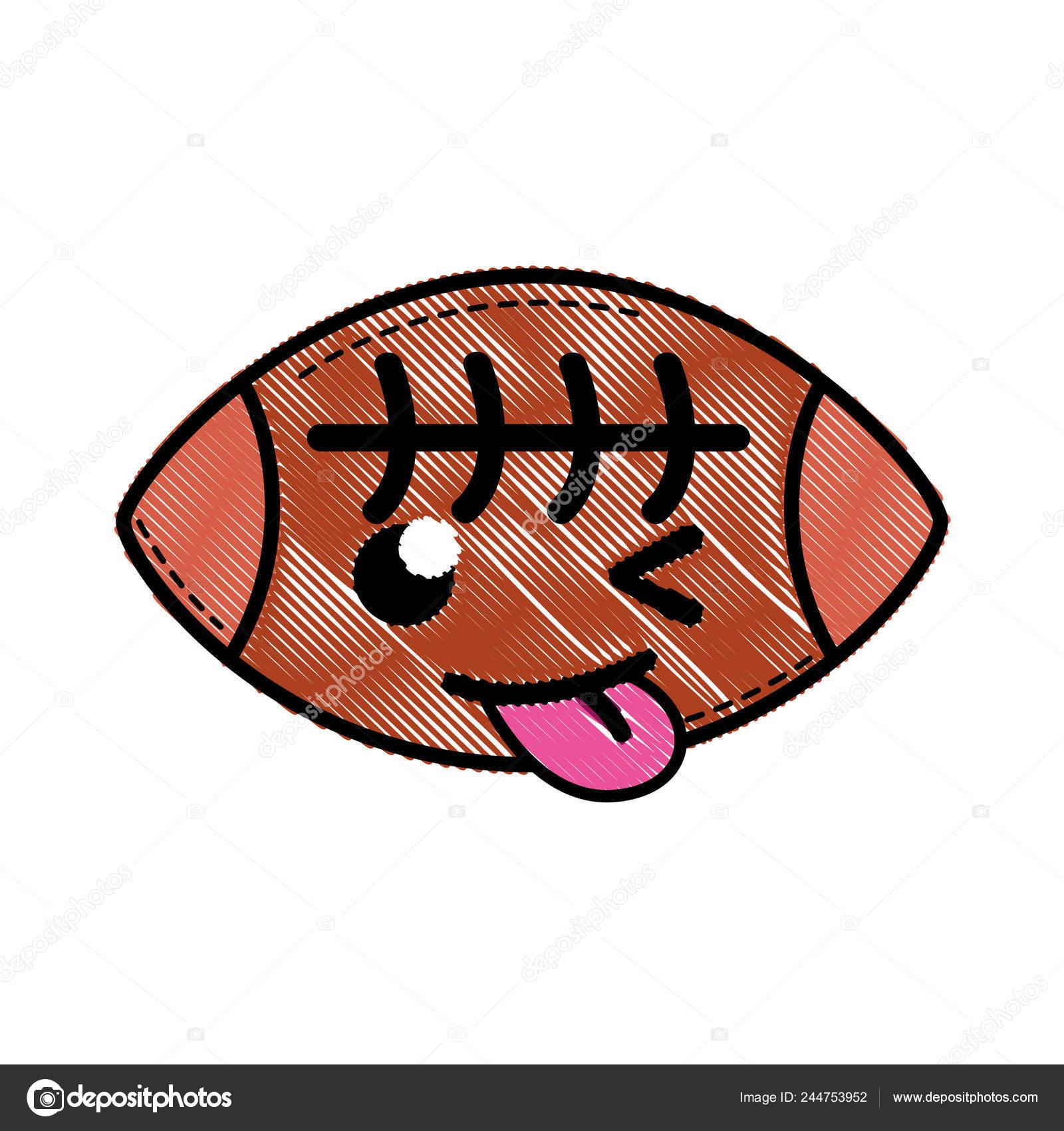 Illustration Vectorielle Balle Américaine Râpé Drôle Mignon