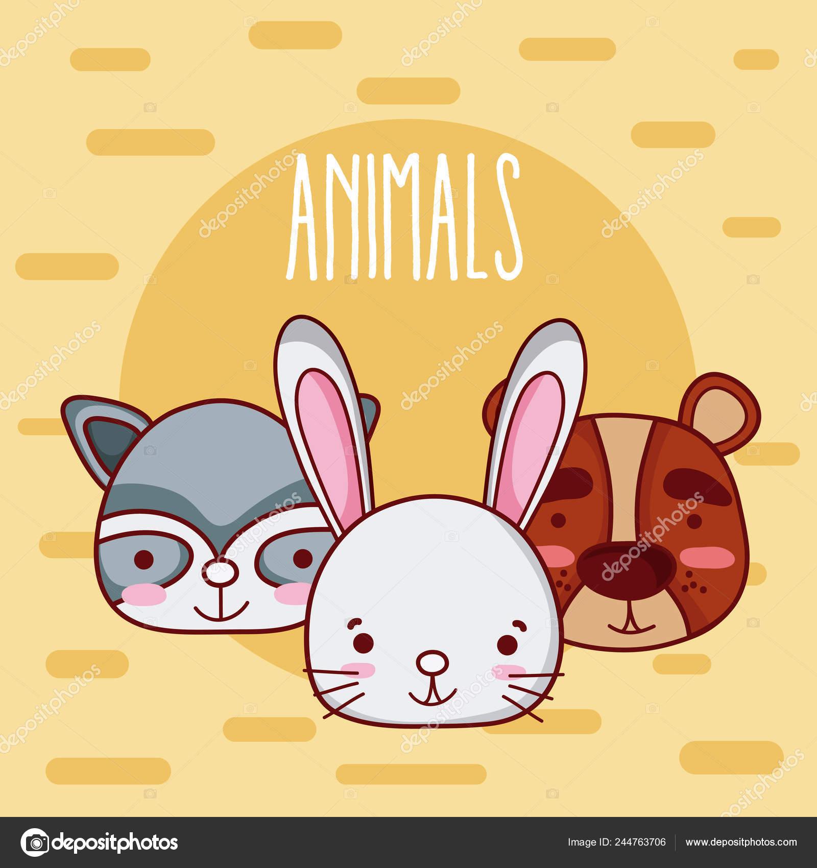 Amigos Animales Lindos Tiernos Dibujos Animados Sobre Diseno Grafico