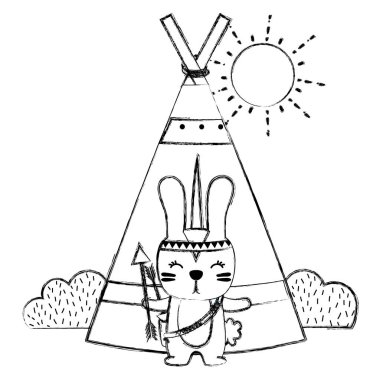 grunge rabbit animal with arrows and camp design vector illustration