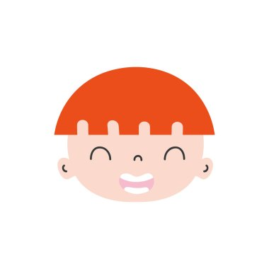colorful smile avatar boy face with hairstyle vector illustration