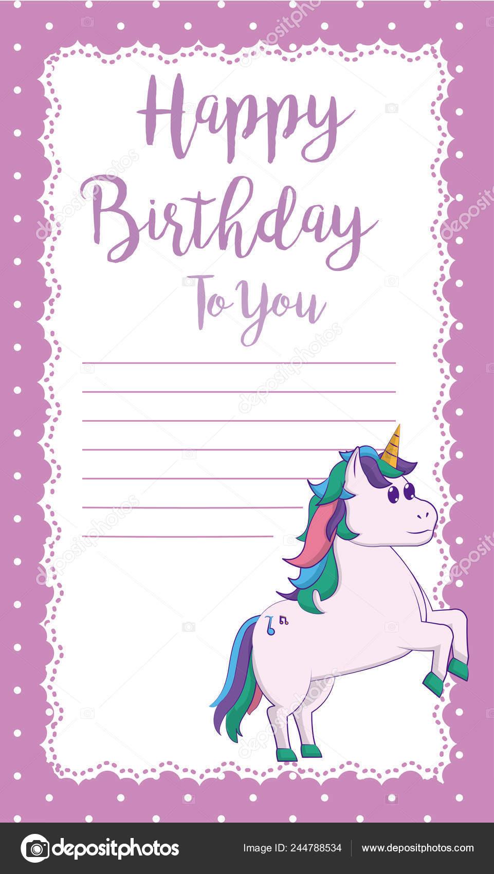 Happy Birthday Card Cute Unicorn Cartoon Blank Note Frame Vector Stock