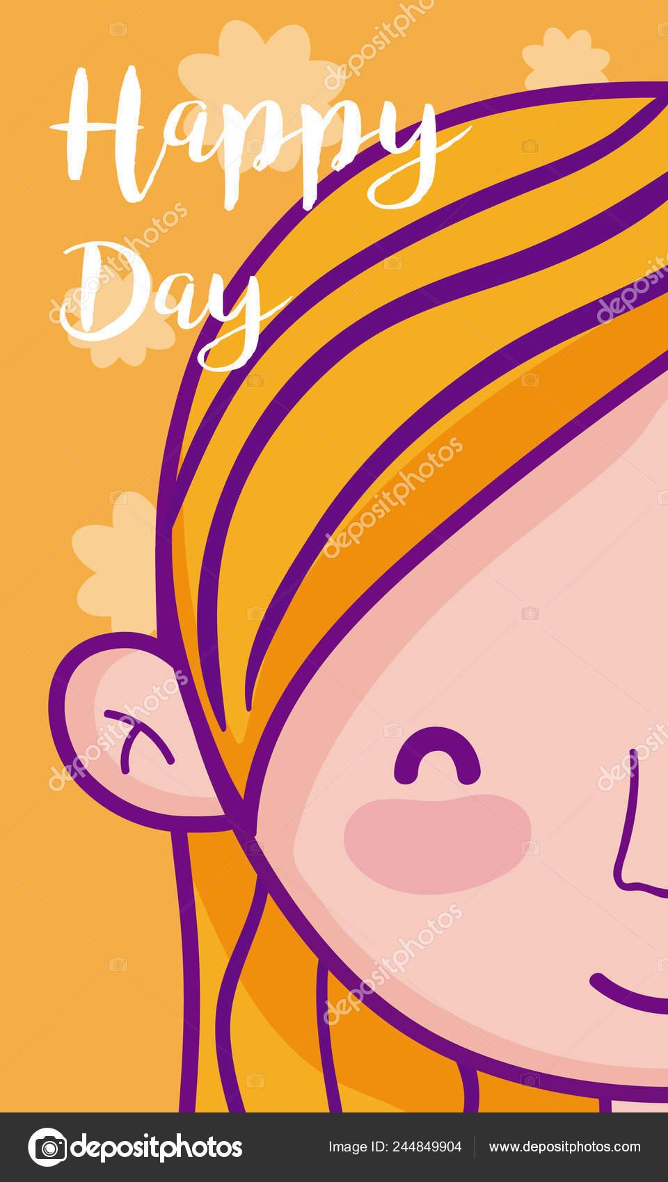 Happy Birthday Card Beautiful Girl Cartoon Vector