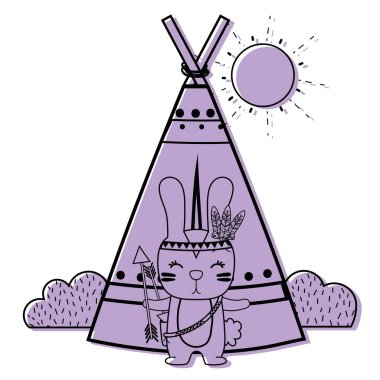 color rabbit animal with arrows and camp design vector illustration