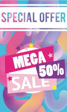Mega sale discounts liquid and fluid poster concept vector illustration graphic design