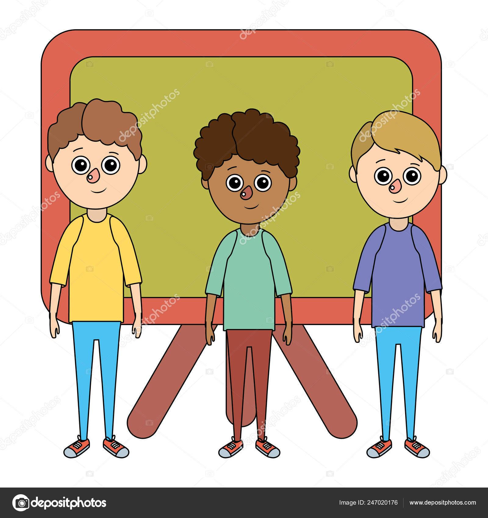 Dibujos Animados De Niños En Edad Escolar Vector De Stock