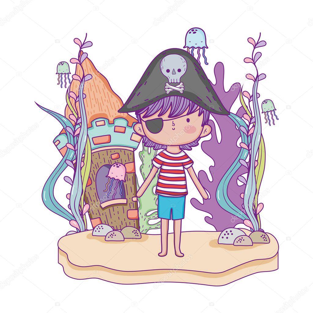 little pirate undersea with castle