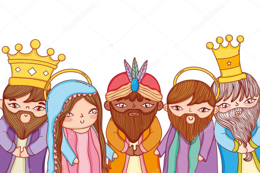 Joseph And Mary With Magi Wises Men Nativity Christmas Cartoon Vector Illustration Graphic Design Premium Vector In Adobe Illustrator Ai Ai Format Encapsulated Postscript Eps Eps Format Almost files can be used for commercial. joseph and mary with magi wises men
