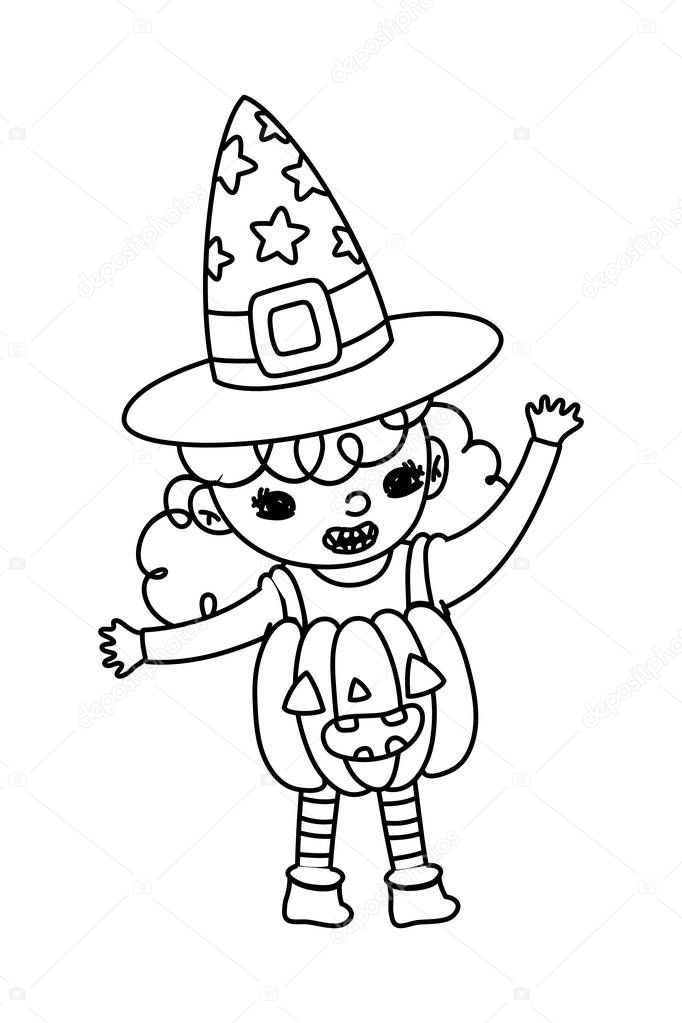 Outline Happy Girl With Pumpkin Costume And Witch Hat Vector Illustration Premium Vector In Adobe Illustrator Ai Ai Format Encapsulated Postscript Eps Eps Format