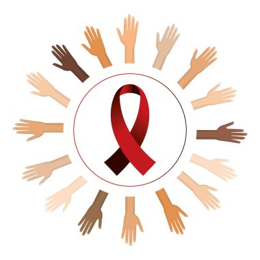 Isolated hiv ribbon with hands design