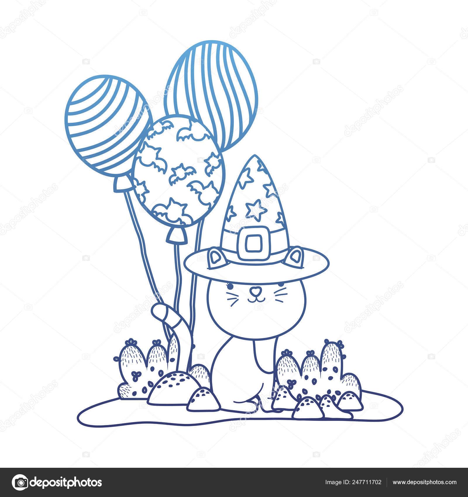 Gato Agradable Contorno Degradado Con Sombrero De Bruja Y