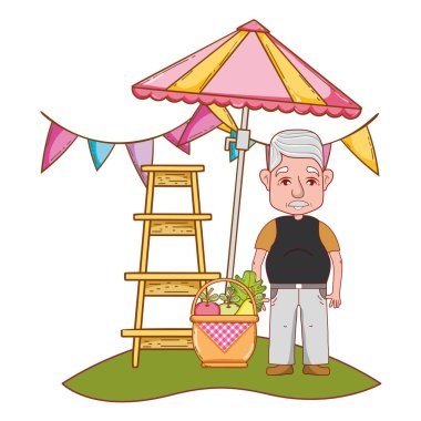 cute grandfather cartoon