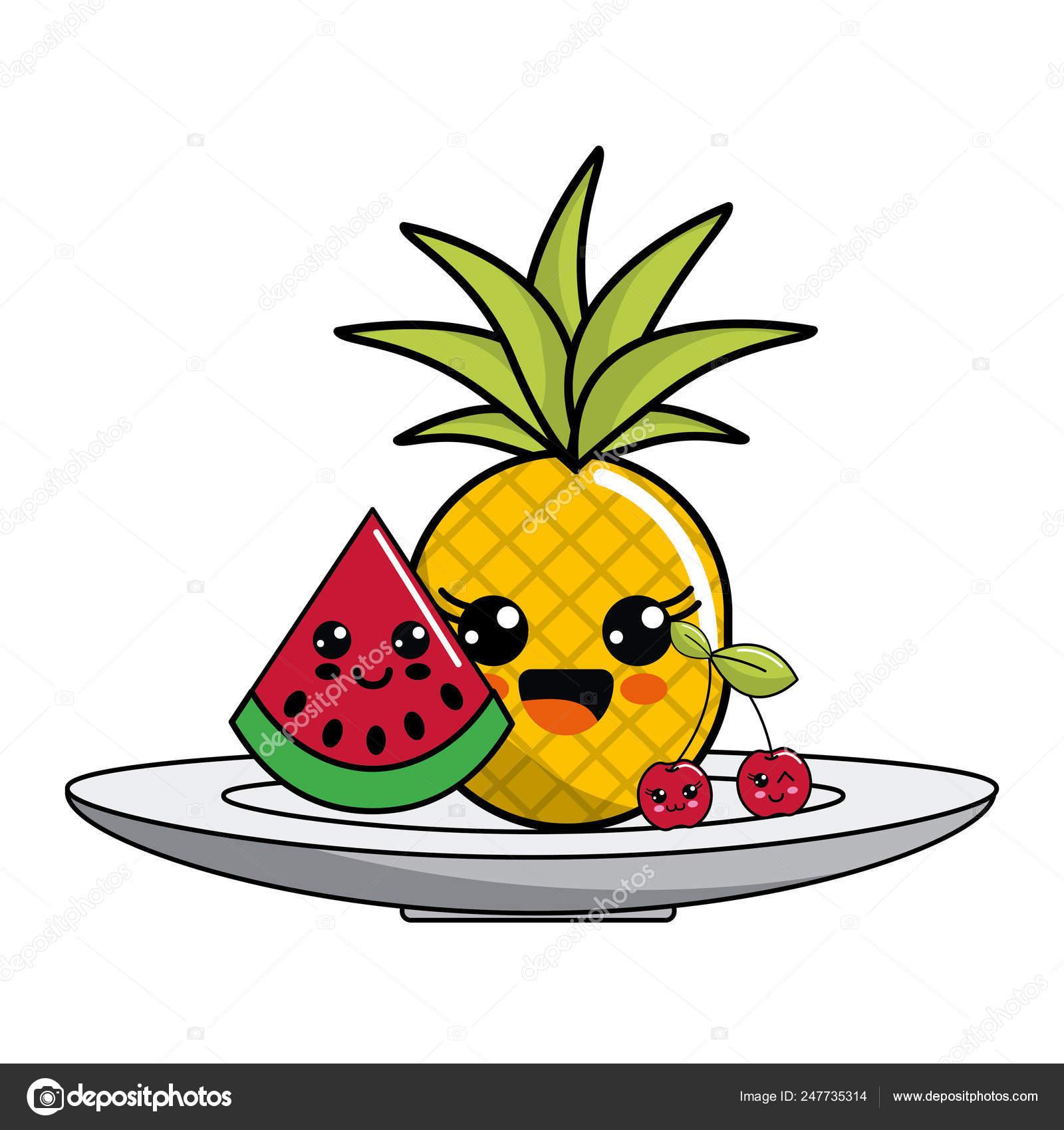 Desenho De Frutas Isolado Kawaii Vetores De Stock