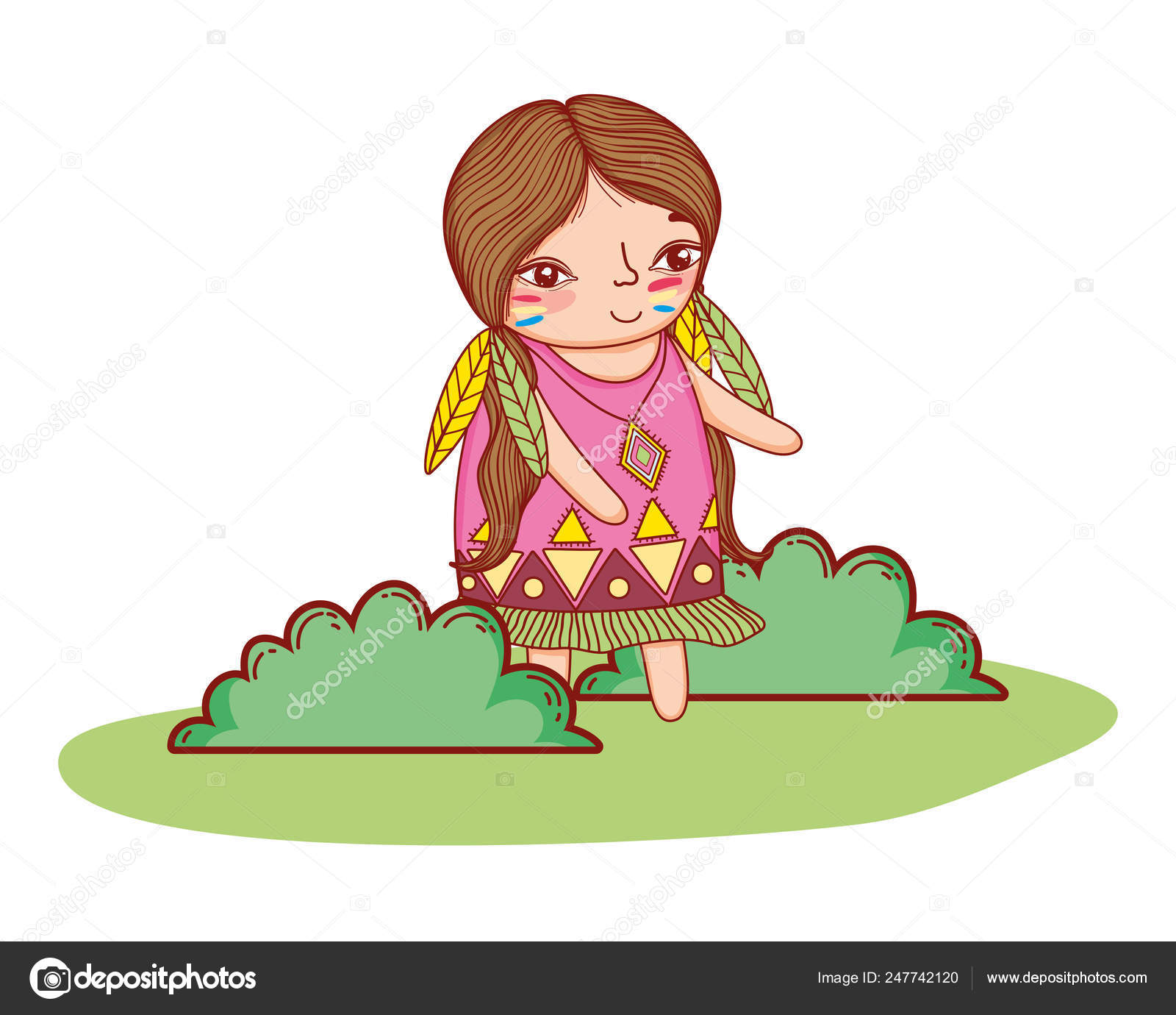 Desenho De Indio Americano Menina Vetores De Stock C Stockgiu