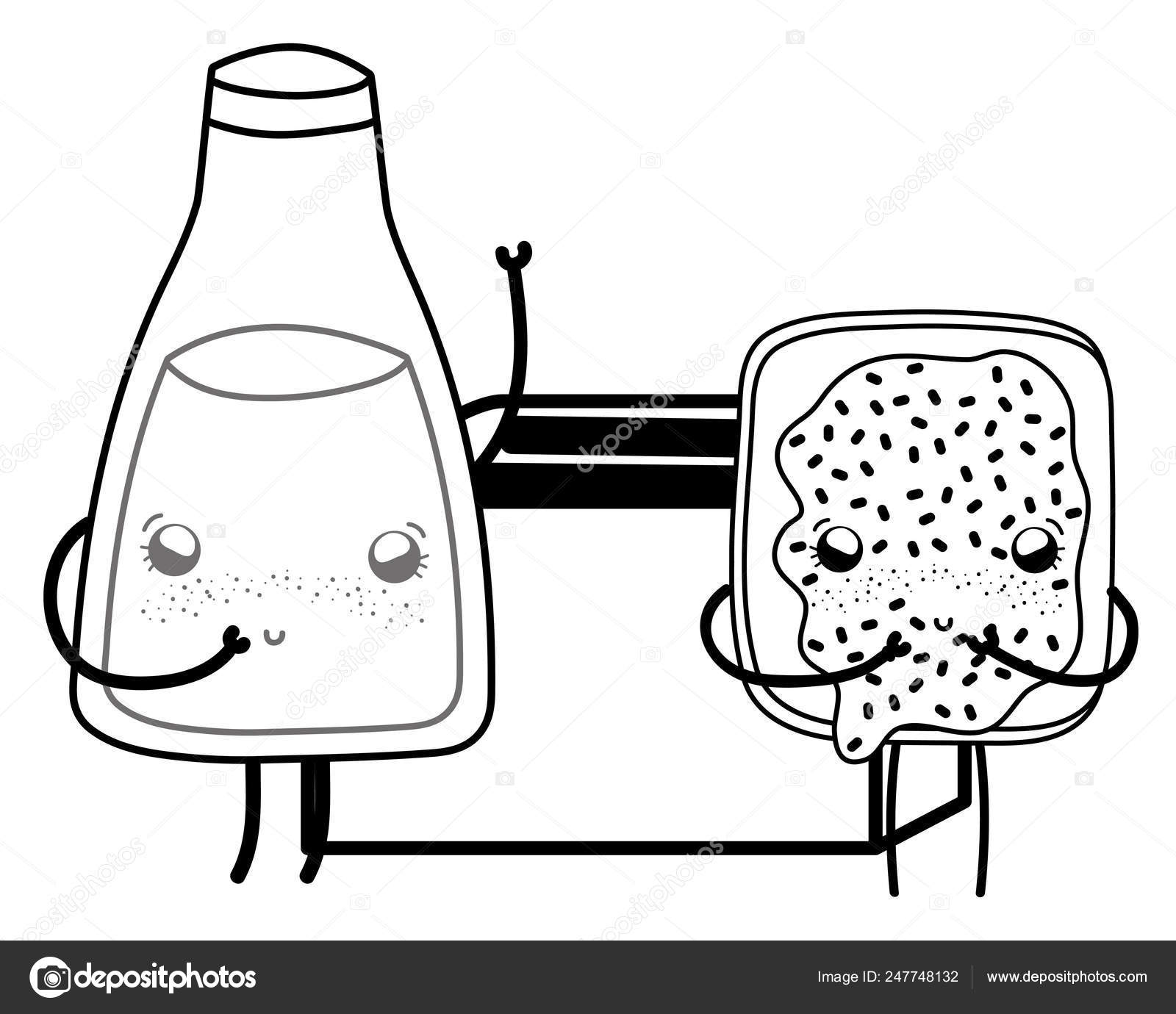 Kitchen Cute Cartoons Utensils Black And White Stock