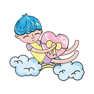 scribbled sleeping boy and heart with ribbon bow in the cloud