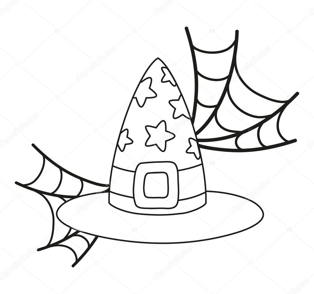 Outline Witch Hat With Stars Style And Spiderweb Vector Illustration Premium Vector In Adobe Illustrator Ai Ai Format Encapsulated Postscript Eps Eps Format