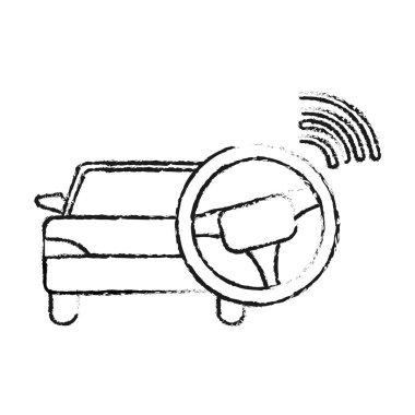 grunge car transport with steering wheel drive vector illustration