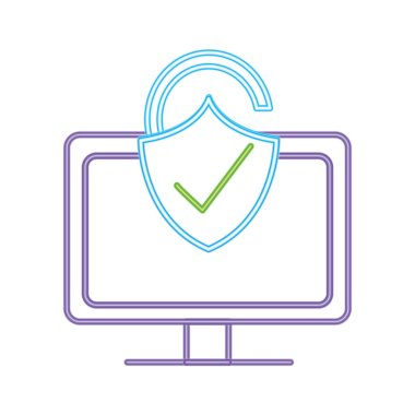 neon line computer technology with padlock good security vector illustration