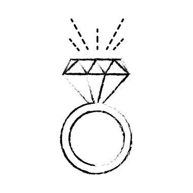 grunge luxury engagement ring wedding with diamond vector illustration