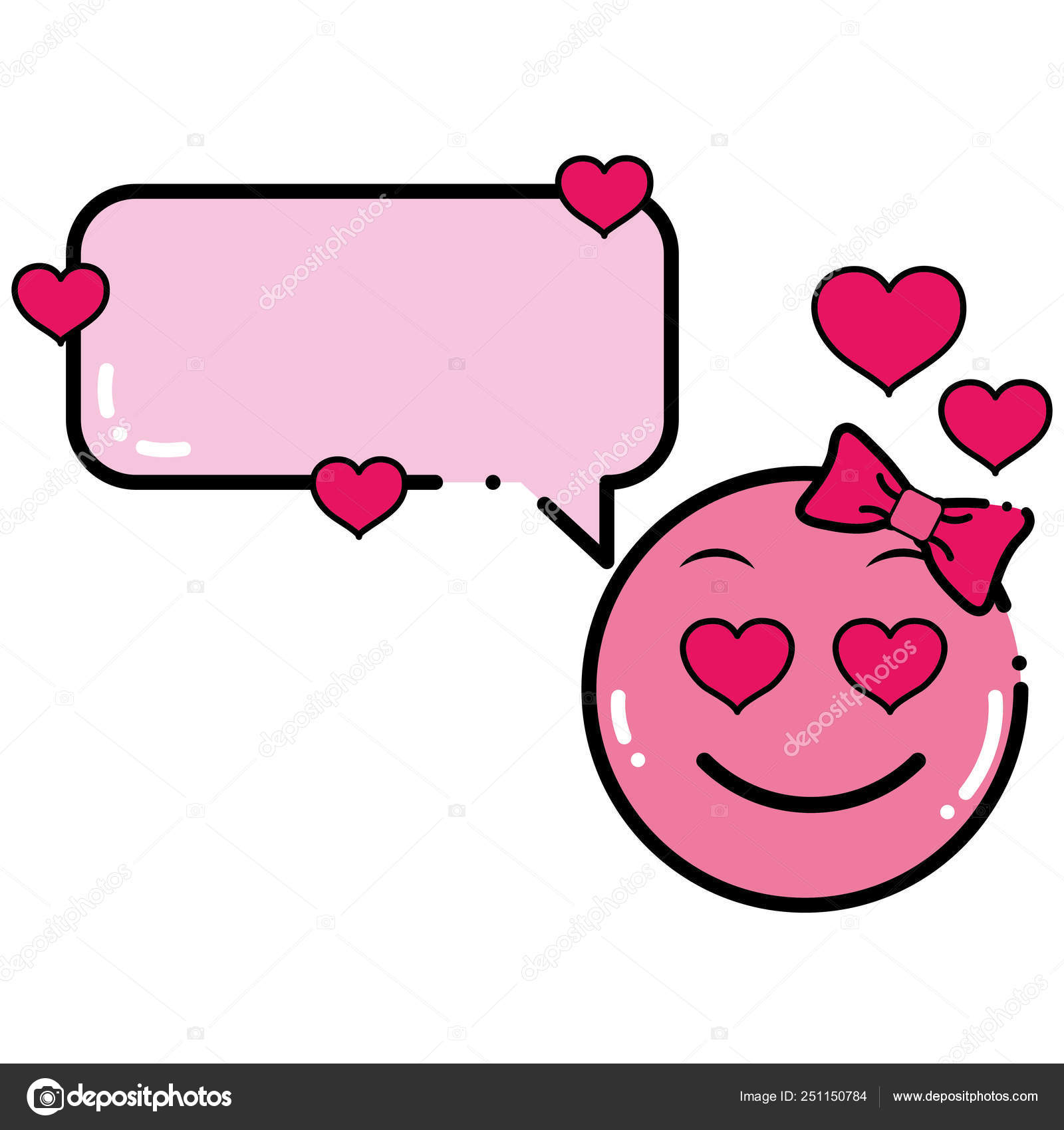 Color female emoji enamored face with chat bubble — Stock Vector