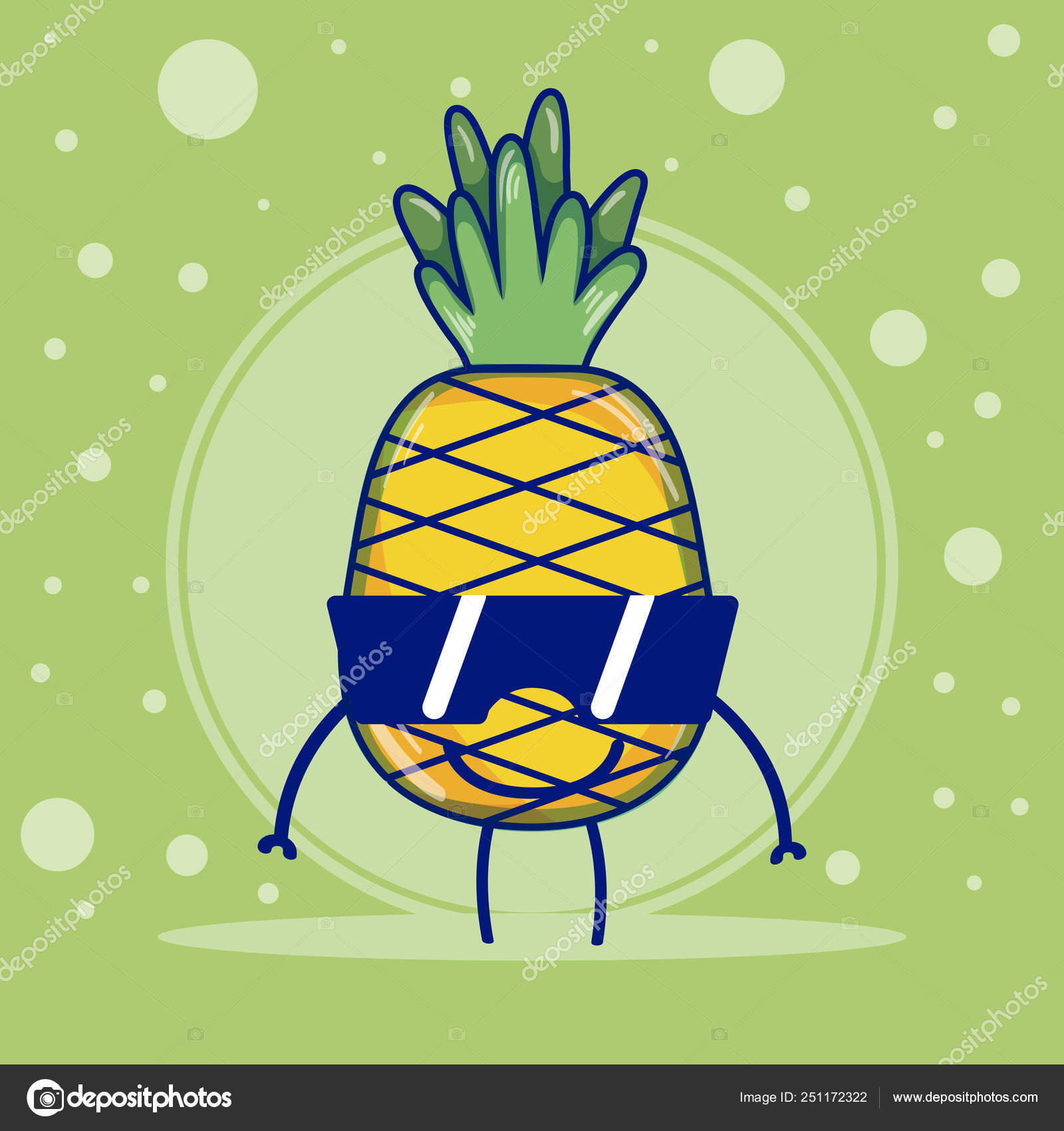 Ananas Avec Des Dessins Animés Kawaii Mignon Fruits Lunettes